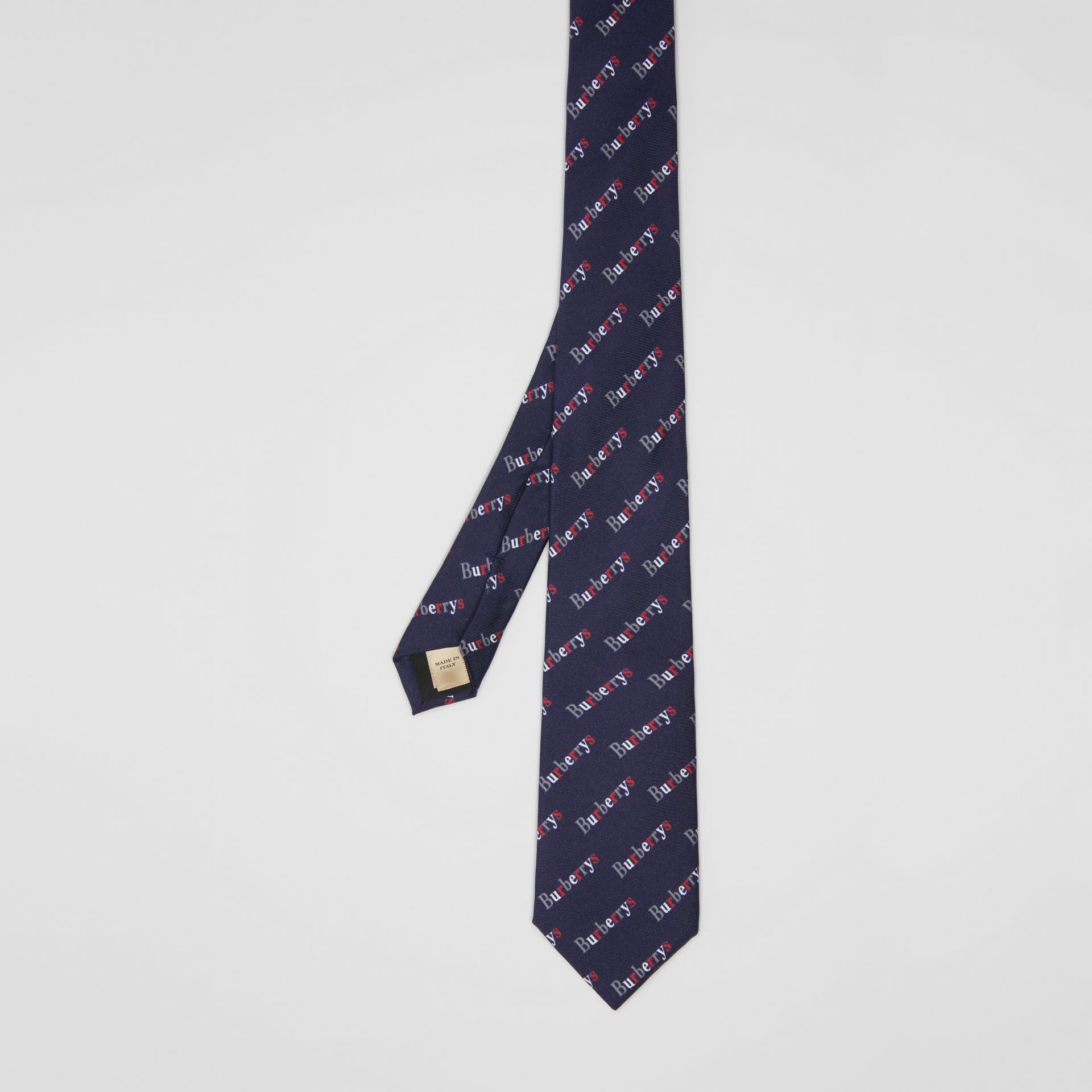Modern Cut Archive Logo Print Silk Tie in Navy - Men | Burberry - gallery image 3
