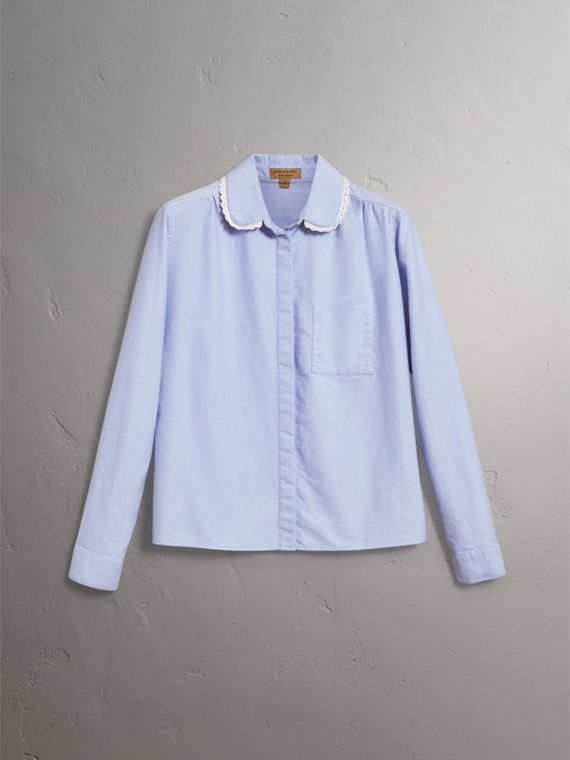 Lace-trimmed Round Collar Cotton Shirt in Cornflower Blue - Women | Burberry - cell image 3