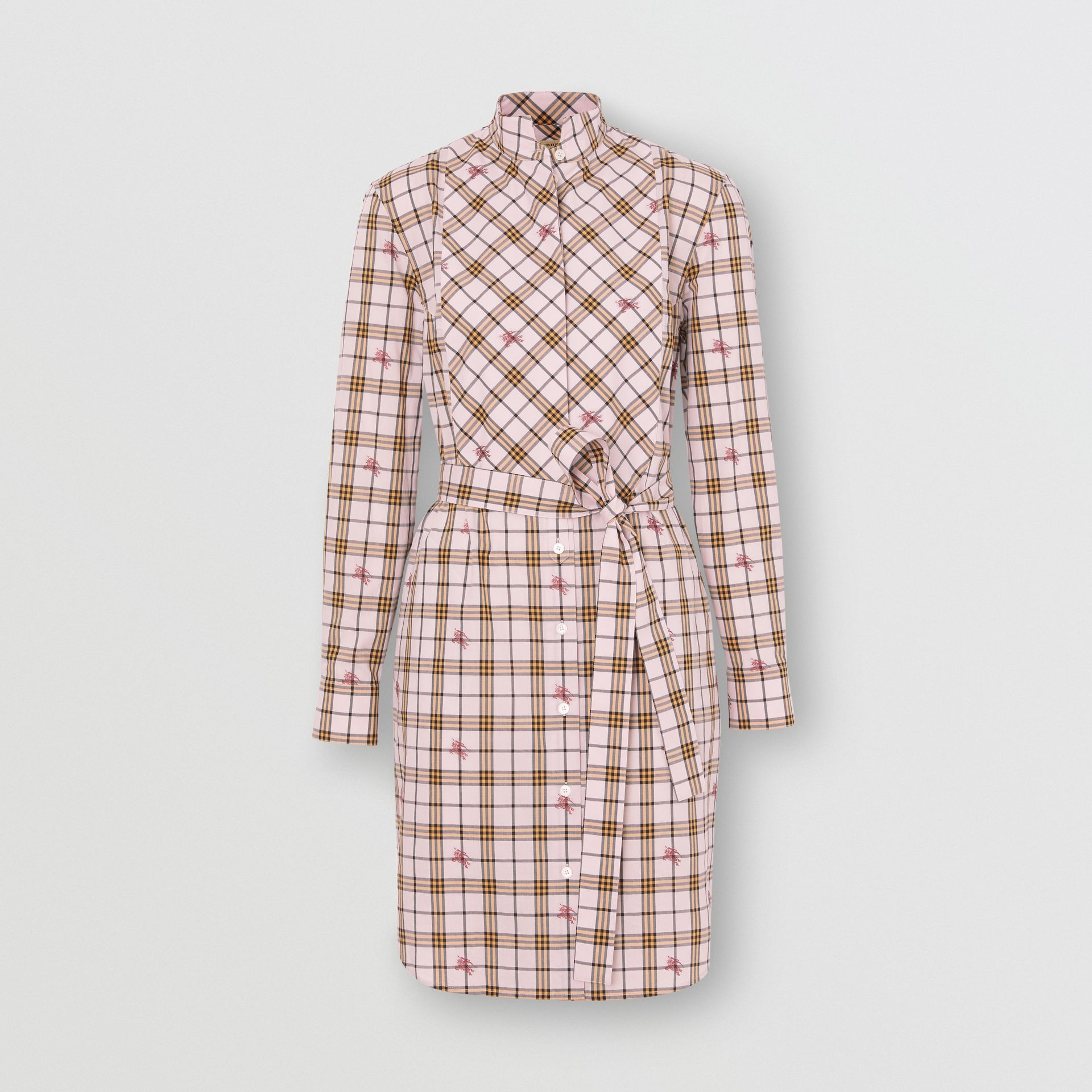 EKD Check Cotton Tie-waist Shirt Dress in Alabaster Pink - Women | Burberry - gallery image 3