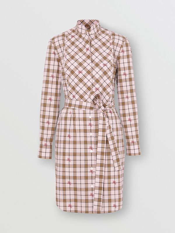 EKD Check Cotton Tie-waist Shirt Dress in Alabaster Pink - Women | Burberry United Kingdom - cell image 3
