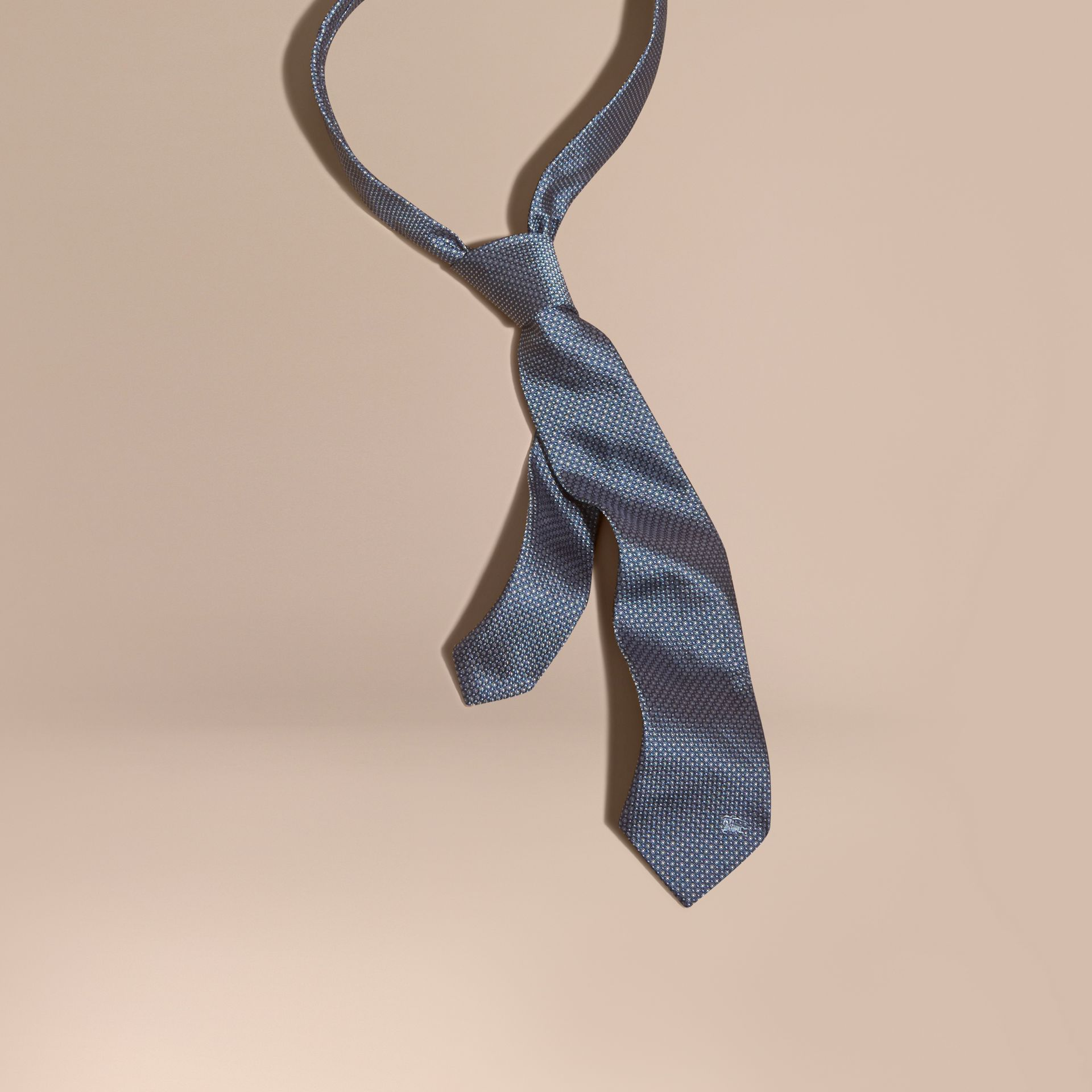Light blue Modern Cut Patterned Silk Tie Light Blue - gallery image 1