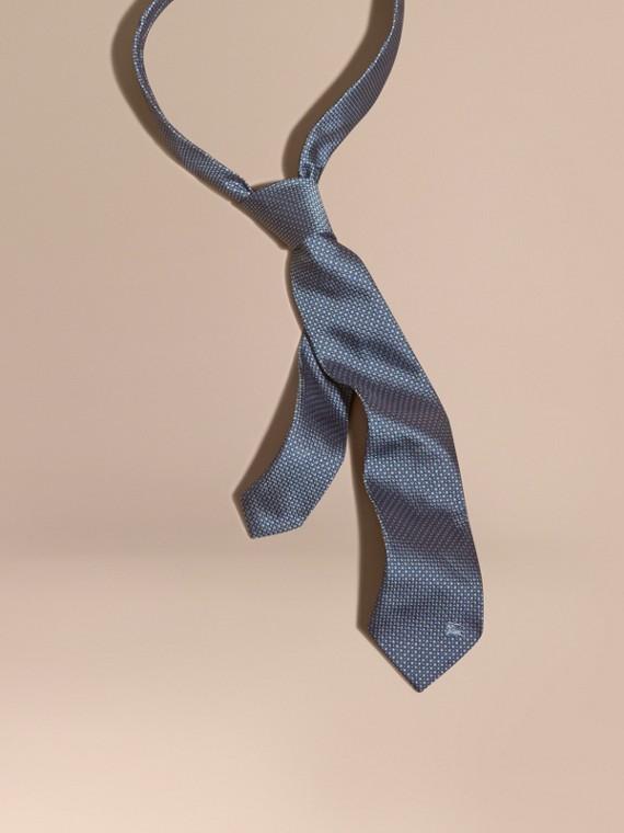 Modern Cut Patterned Silk Tie Light Blue
