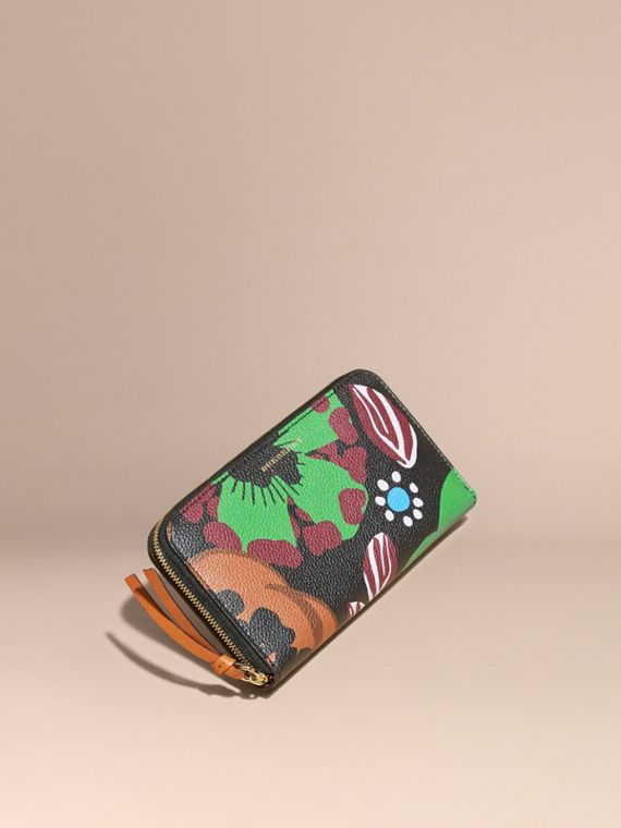Floral Print Grainy Leather Ziparound Wallet Navy