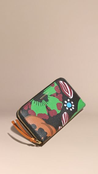 Floral Print Grainy Leather Ziparound Wallet