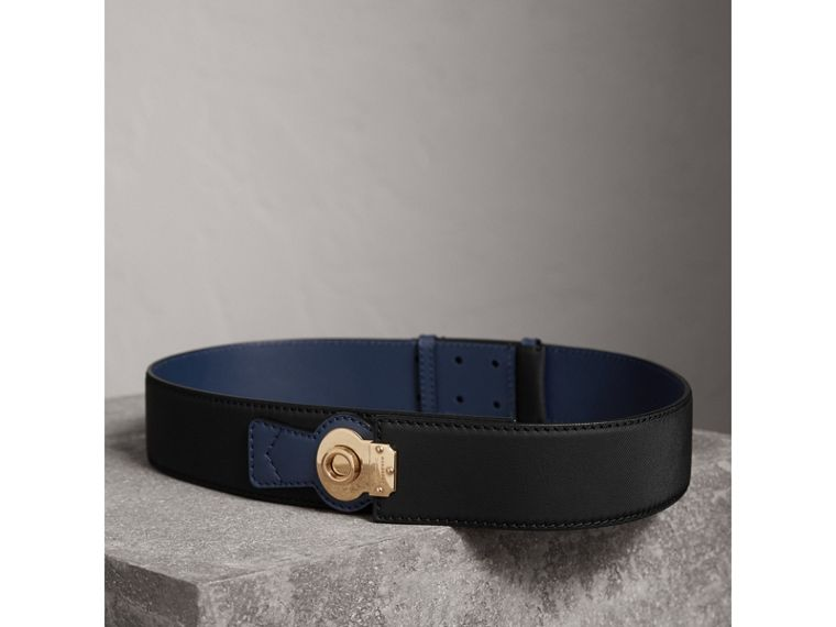 Two-tone Trench Leather Belt in Black / Ink Blue - Women | Burberry United Kingdom - cell image 2