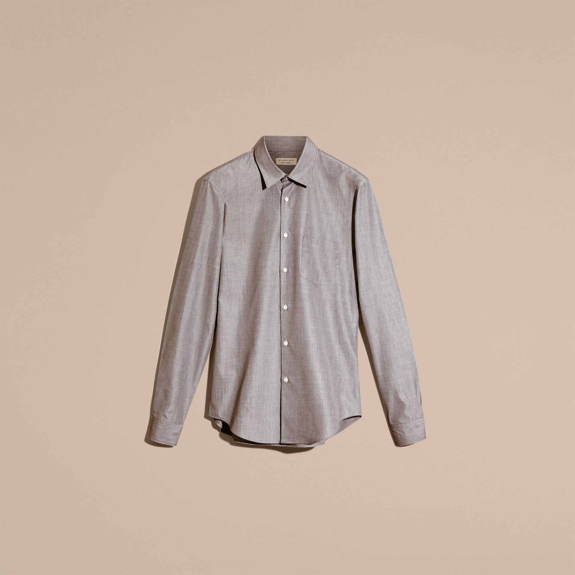 Mid grey Mélange Cotton Shirt Mid Grey - gallery image 4