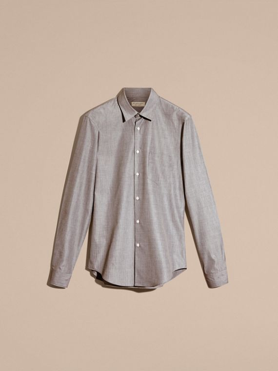 Mid grey Mélange Cotton Shirt Mid Grey - cell image 3