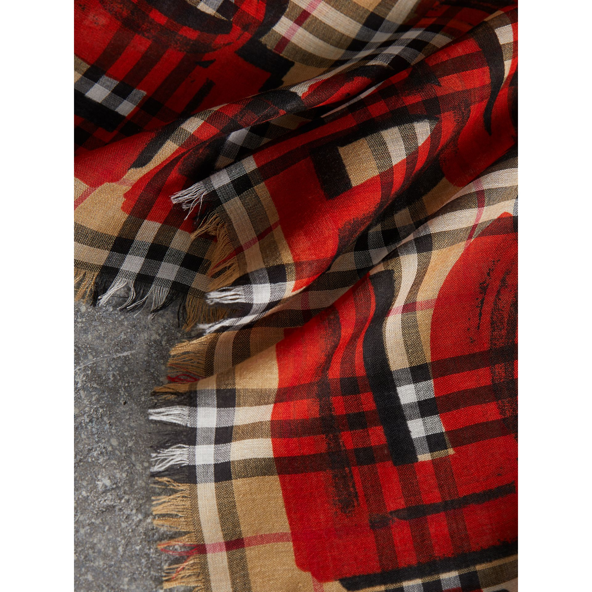 Graffiti Print Check Wool Silk Large Square Scarf in Bright Red | Burberry United Kingdom - gallery image 1