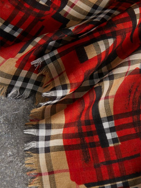 Graffiti Print Check Wool Silk Large Square Scarf in Bright Red | Burberry Hong Kong - cell image 1