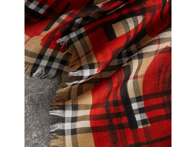 Graffiti Print Check Wool Silk Large Square Scarf in Bright Red | Burberry - cell image 1