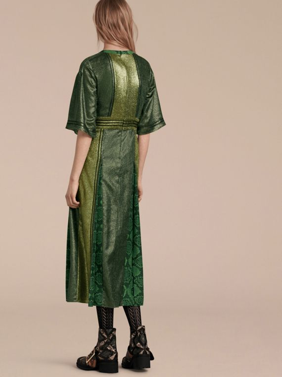 Sage Long Lamé and Python Print Dress Sage - cell image 2