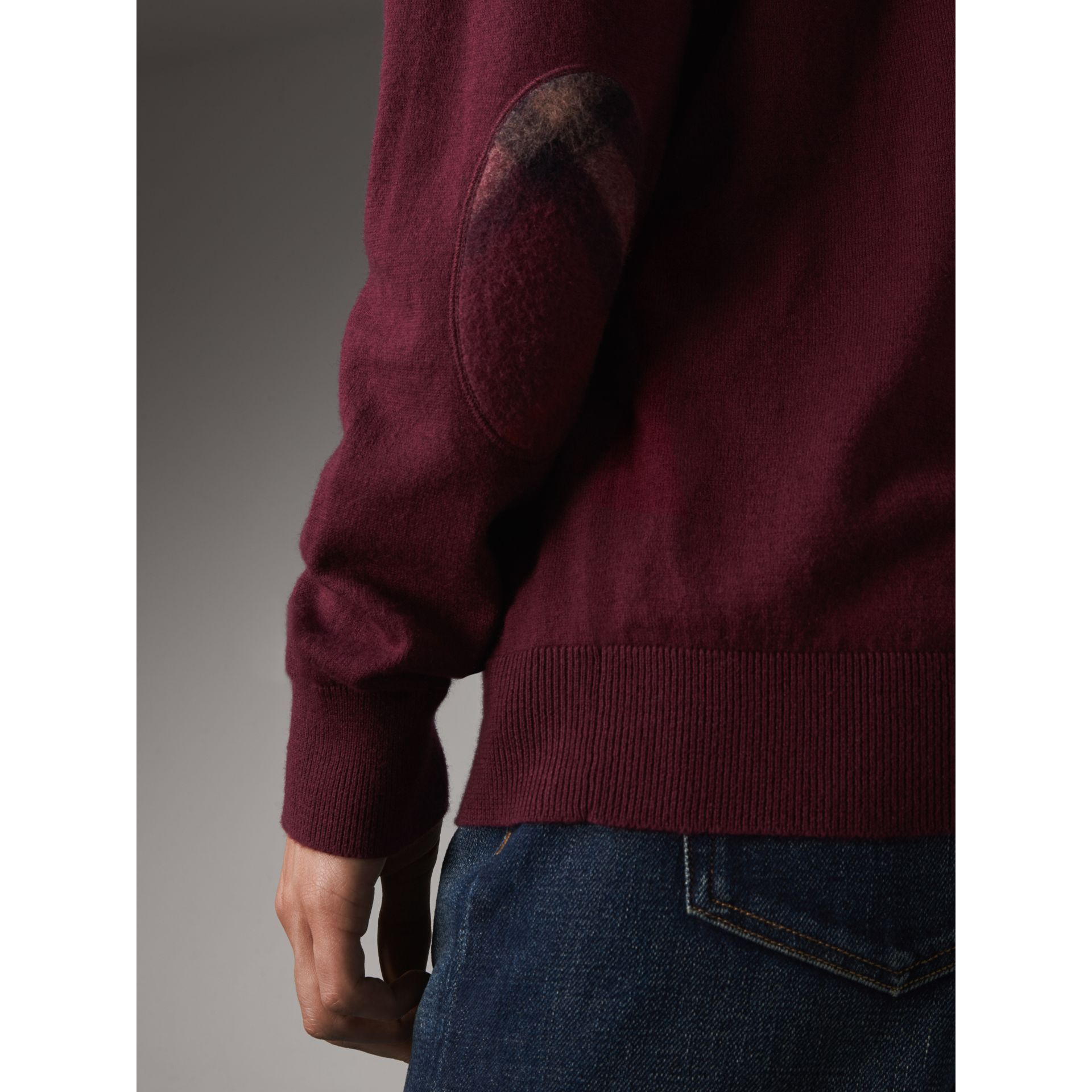 Check Trim Cashmere Cotton Sweater in Claret - Men | Burberry - gallery image 2