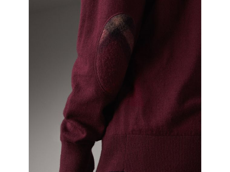 Check Trim Cashmere Cotton Sweater in Claret - Men | Burberry - cell image 1
