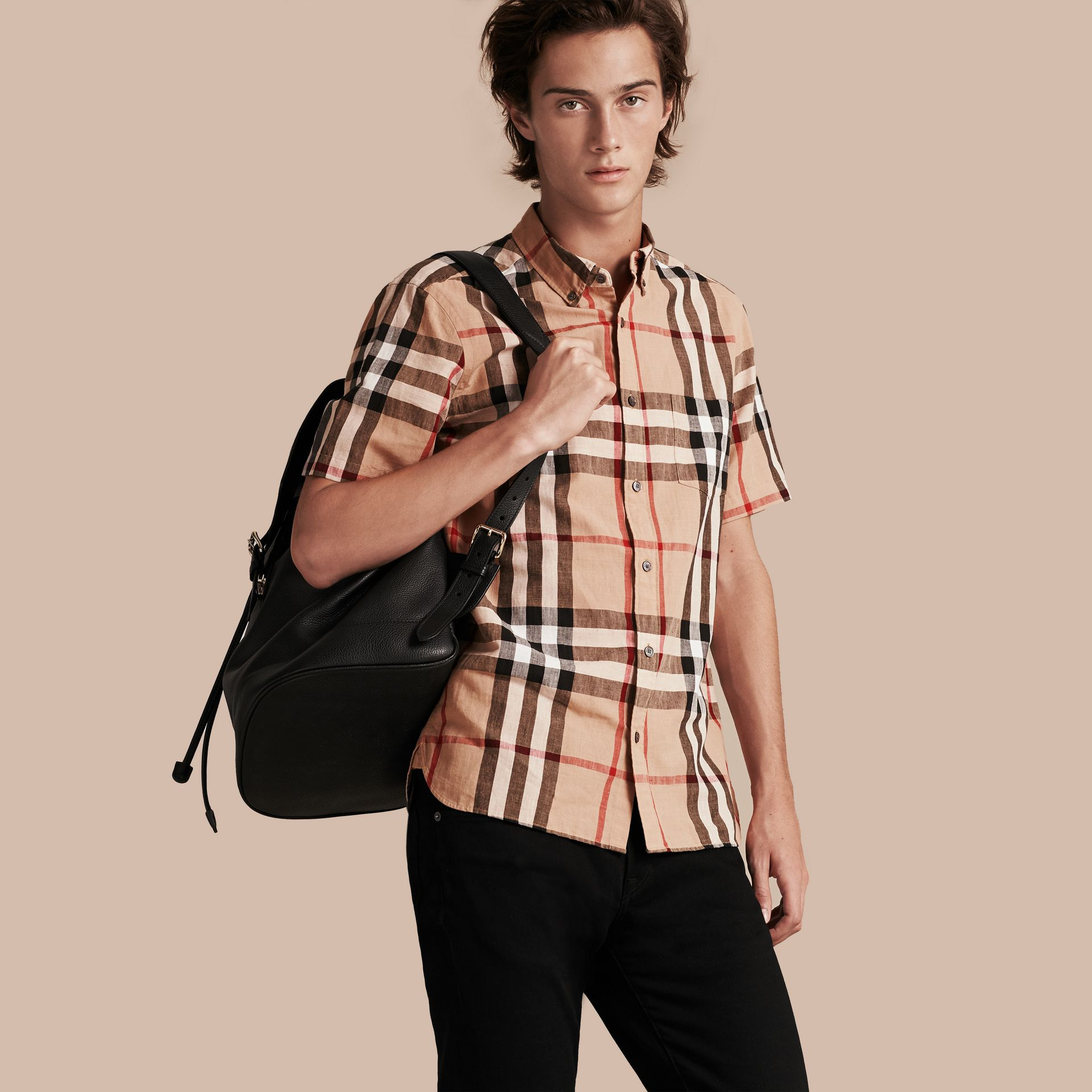 Short-sleeved Check Linen Cotton Shirt Camel - gallery image 1