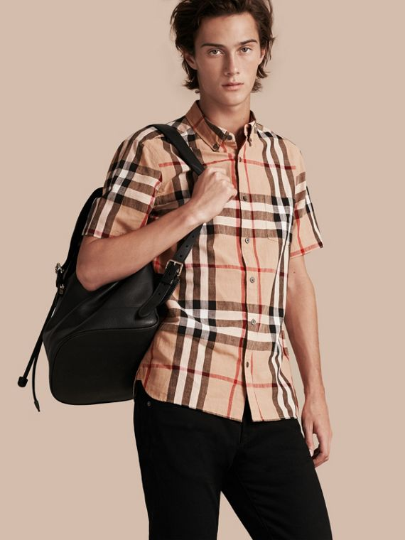 Short-sleeved Check Linen Cotton Shirt Camel