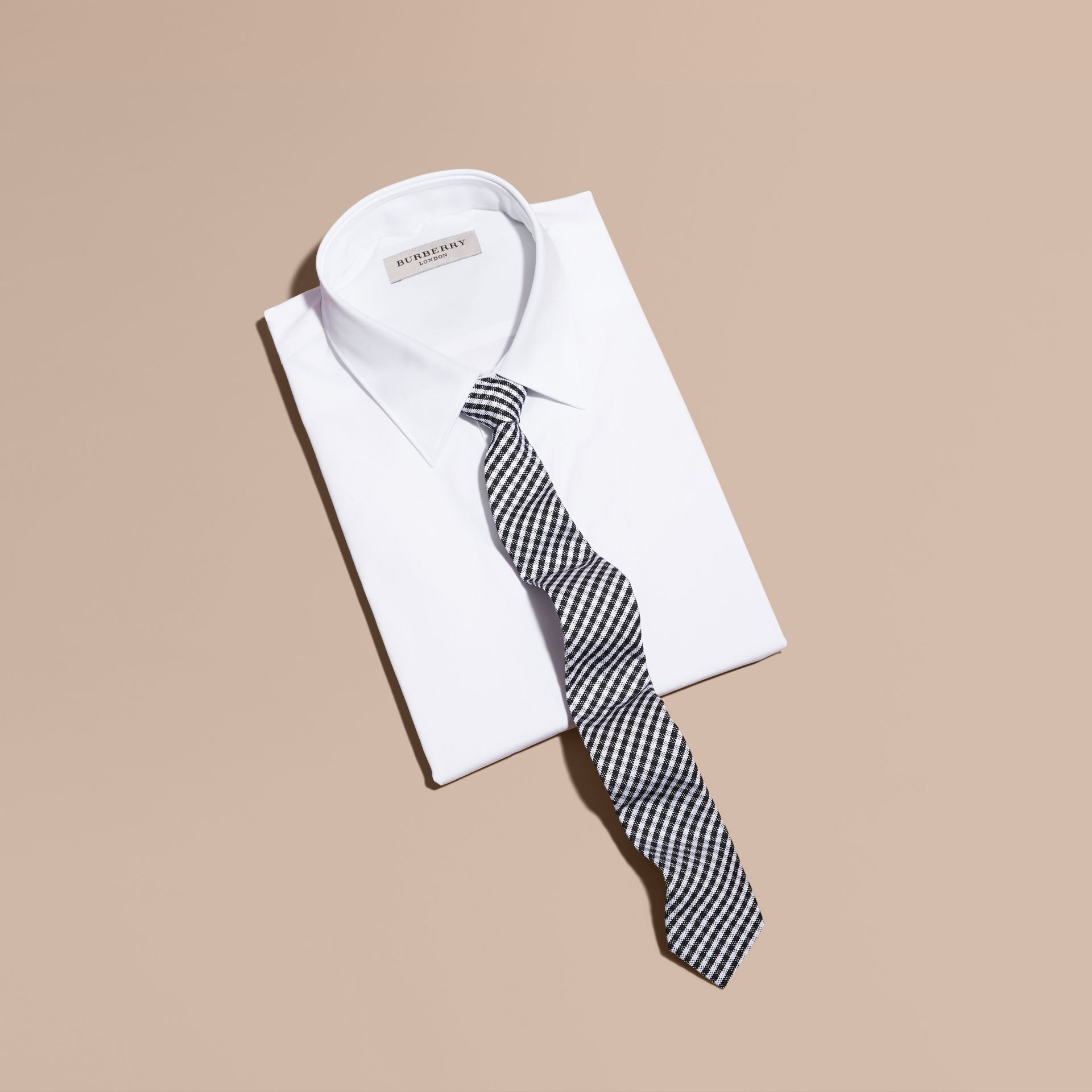 Black Slim Cut Cotton Silk Gingham Tie Black - gallery image 3