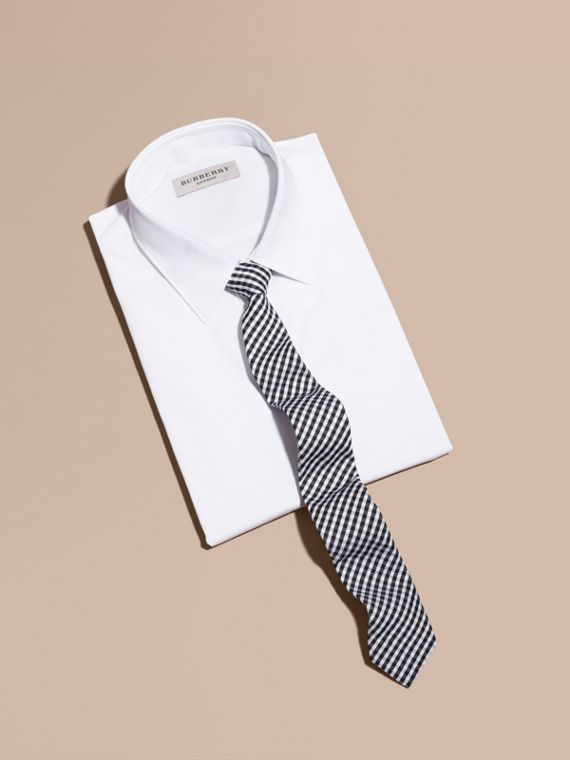 Slim Cut Cotton Silk Gingham Tie in Black - cell image 3