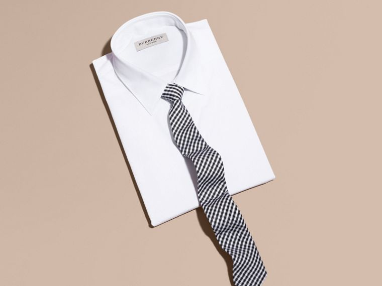 Black Slim Cut Cotton Silk Gingham Tie Black - cell image 2