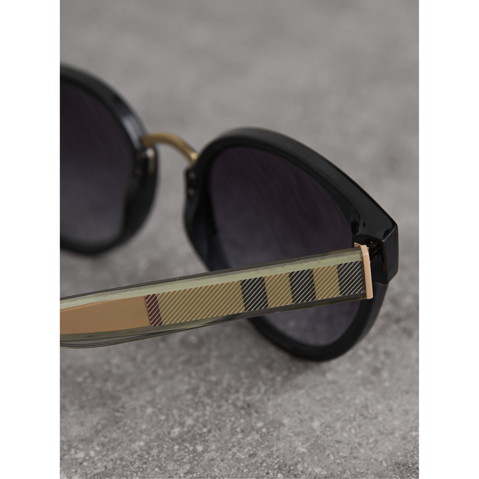 Check Detail Cat-eye Frame Sunglasses in Black - Women | Burberry - gallery image 2