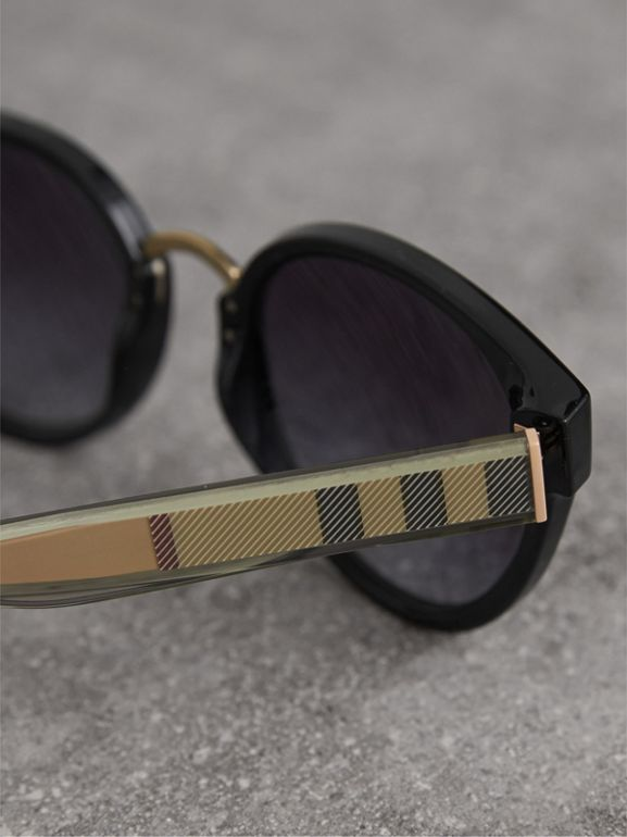 Check Detail Cat-eye Frame Sunglasses in Black - Women | Burberry United States - cell image 1