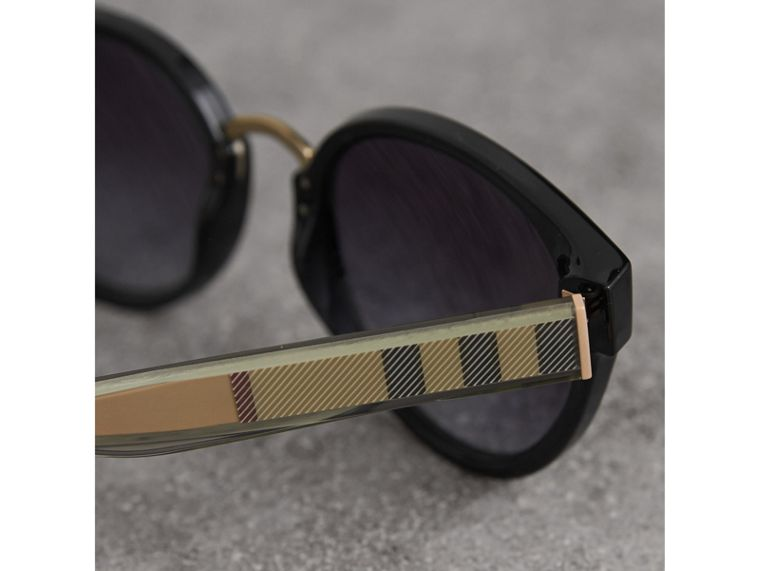 Check Detail Cat-eye Frame Sunglasses in Black - Women | Burberry United Kingdom - cell image 1