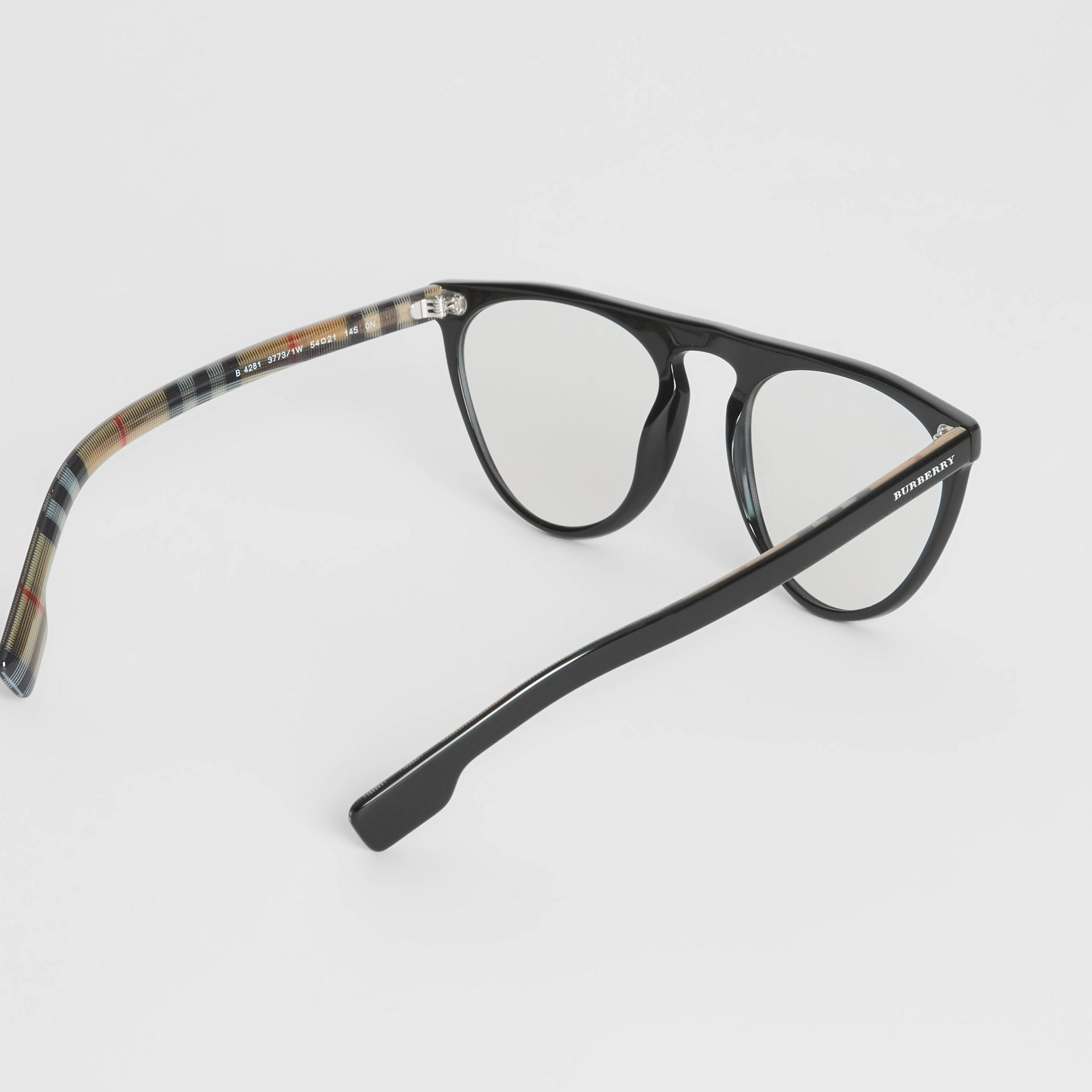 Keyhole D-shaped Optical Frames in Black - Men | Burberry Singapore - gallery image 4