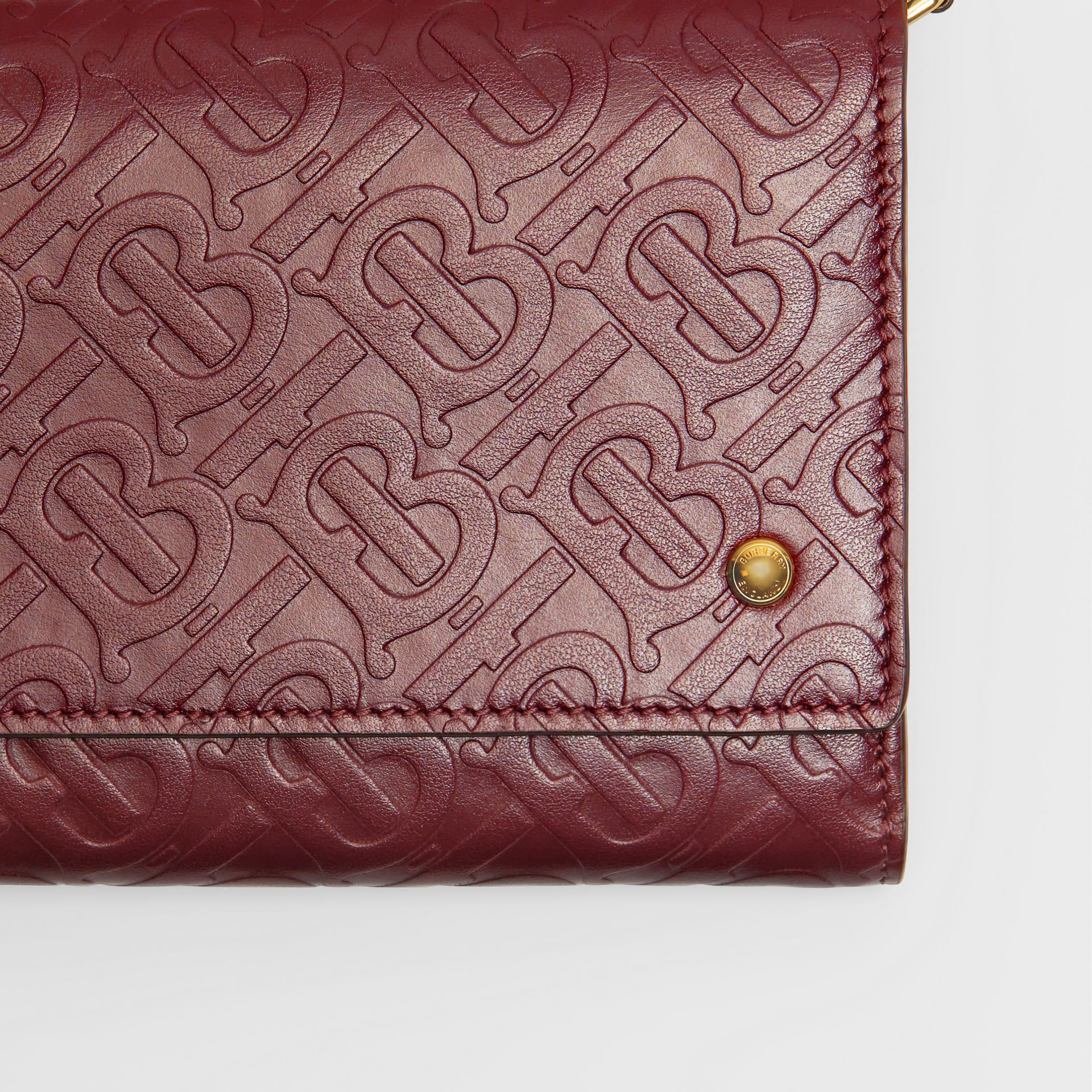Monogram Leather Wallet with Detachable Strap in Oxblood - Women | Burberry - gallery image 1