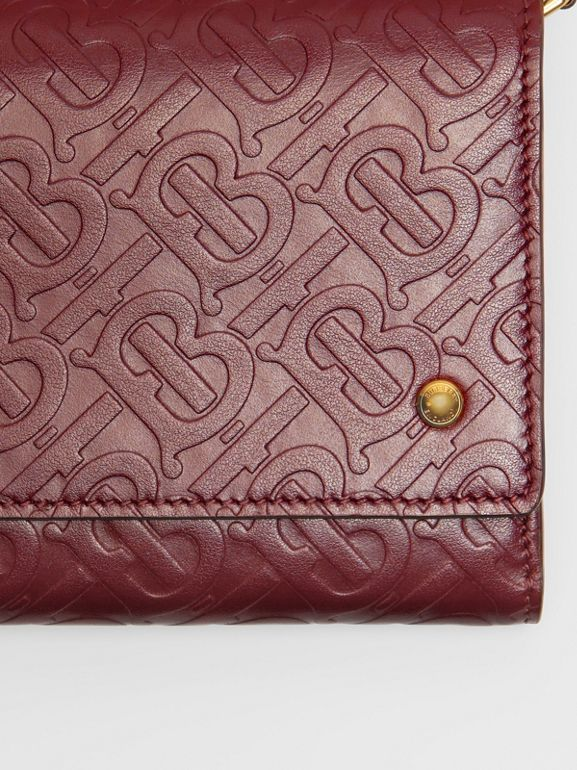 Monogram Leather Wallet with Detachable Strap in Oxblood - Women | Burberry - cell image 1