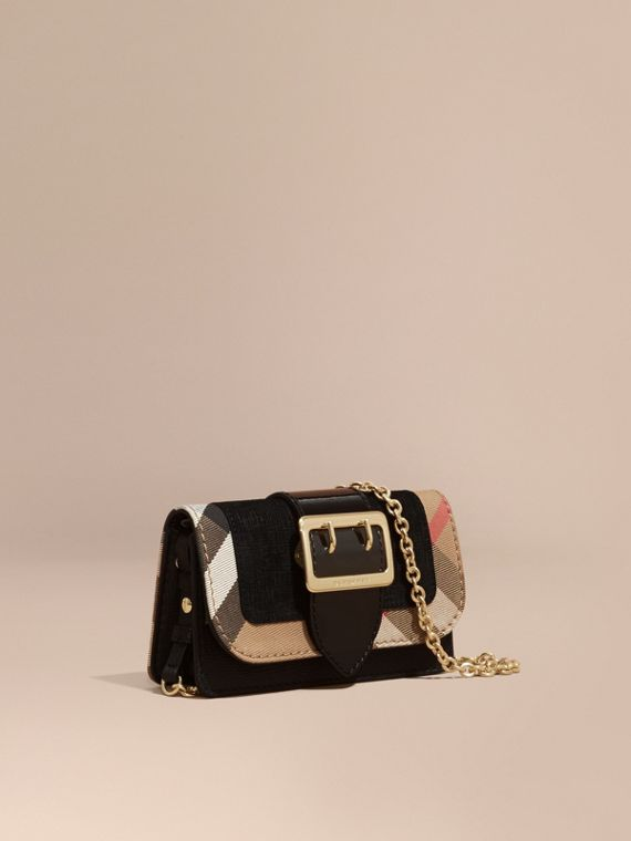 The Mini Buckle Bag in Leather and House Check Black