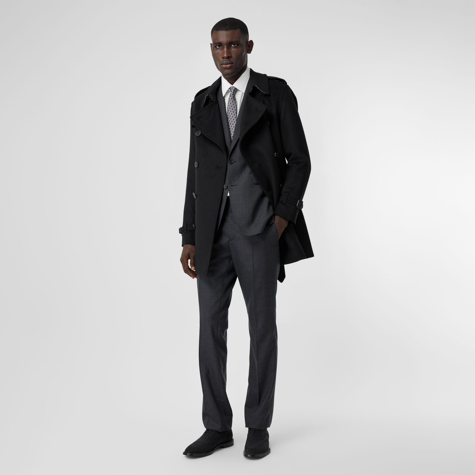 Wool Cashmere Trench Coat in Black - Men | Burberry - gallery image 5