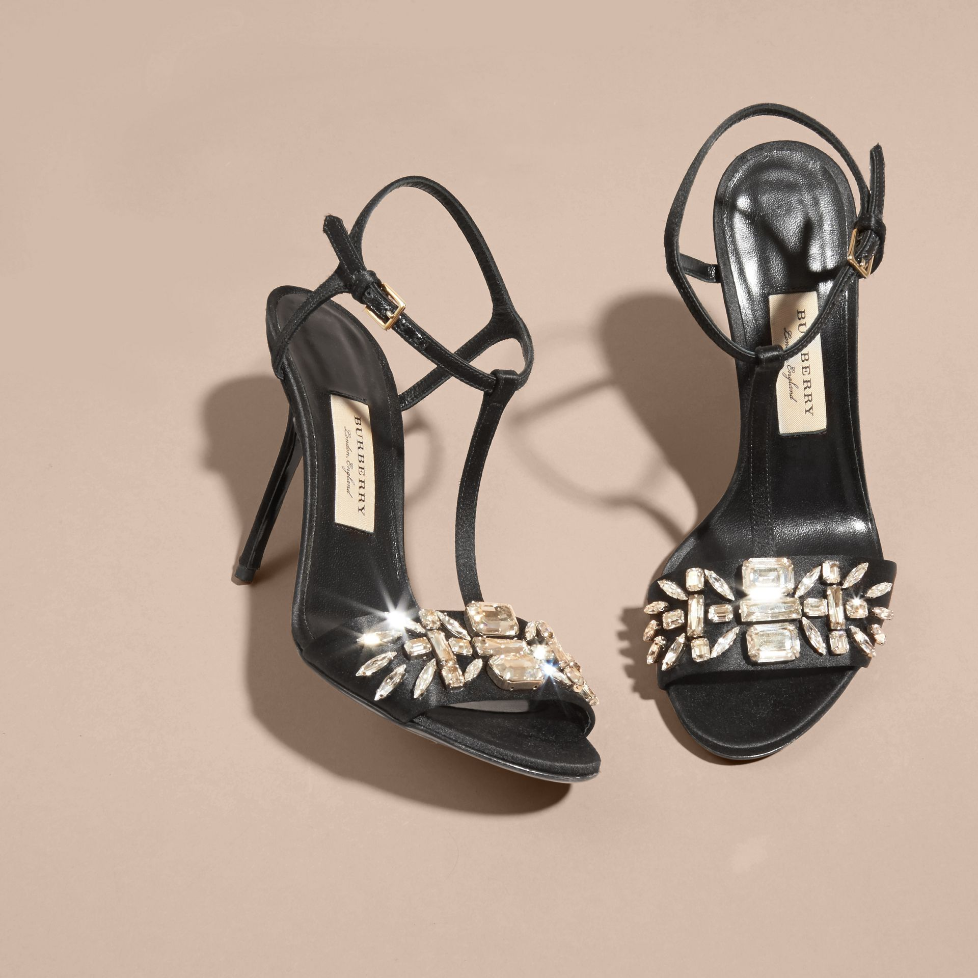 Black Gem Embellished Leather Sandals - gallery image 3