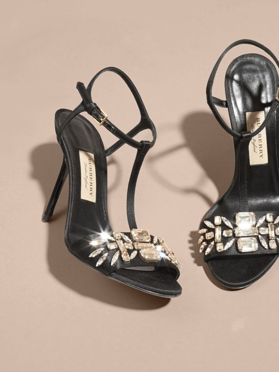Black Gem Embellished Leather Sandals - cell image 2