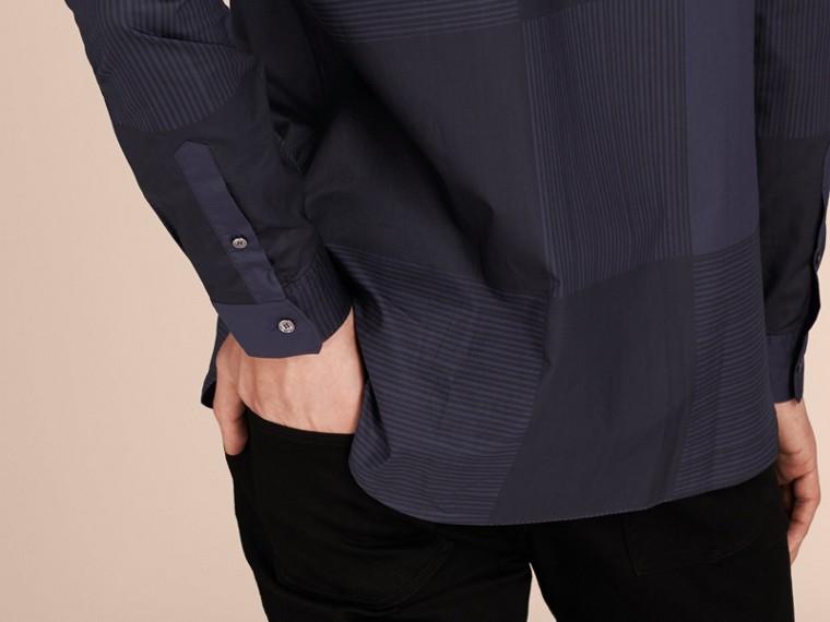 Azul marinho Camisa de algodão com estampa xadrez Azul Marinho - cell image 4
