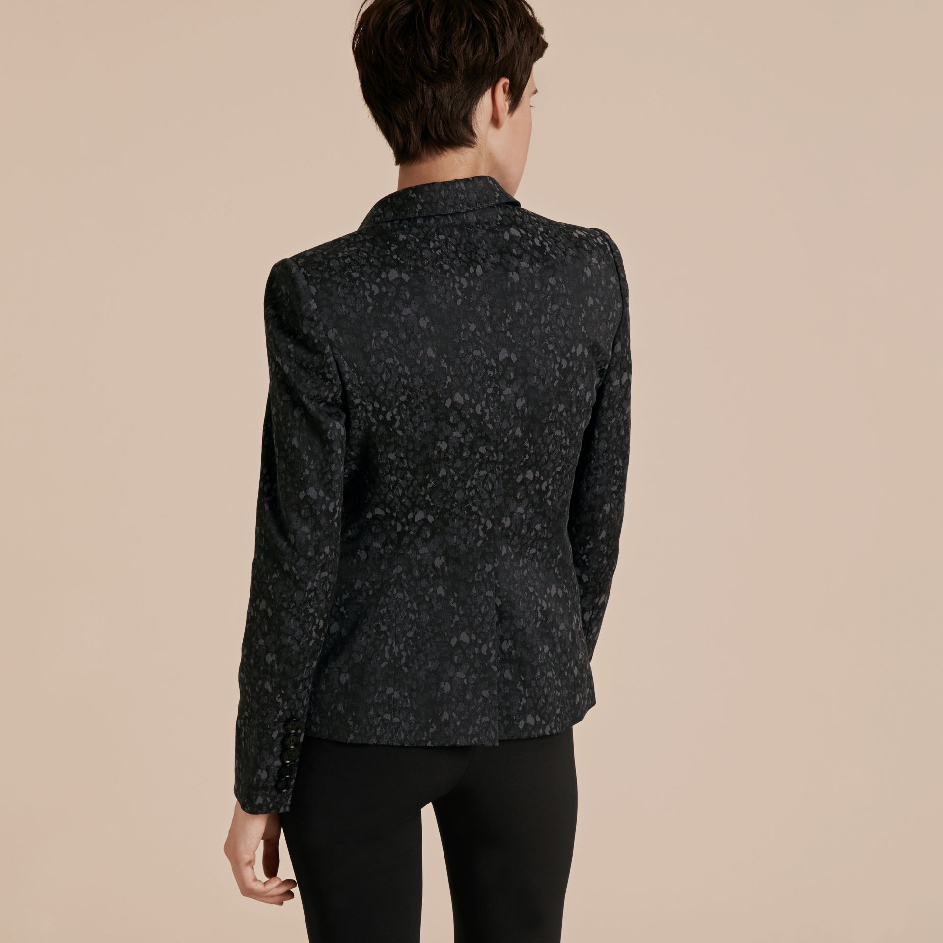 Dark grey Cotton Blend Jacquard Jacket - gallery image 3