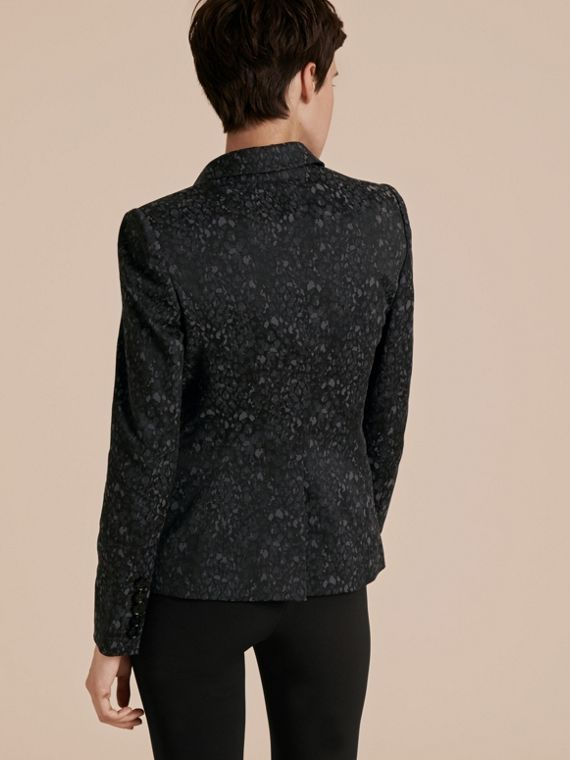 Dark grey Cotton Blend Jacquard Jacket - cell image 2