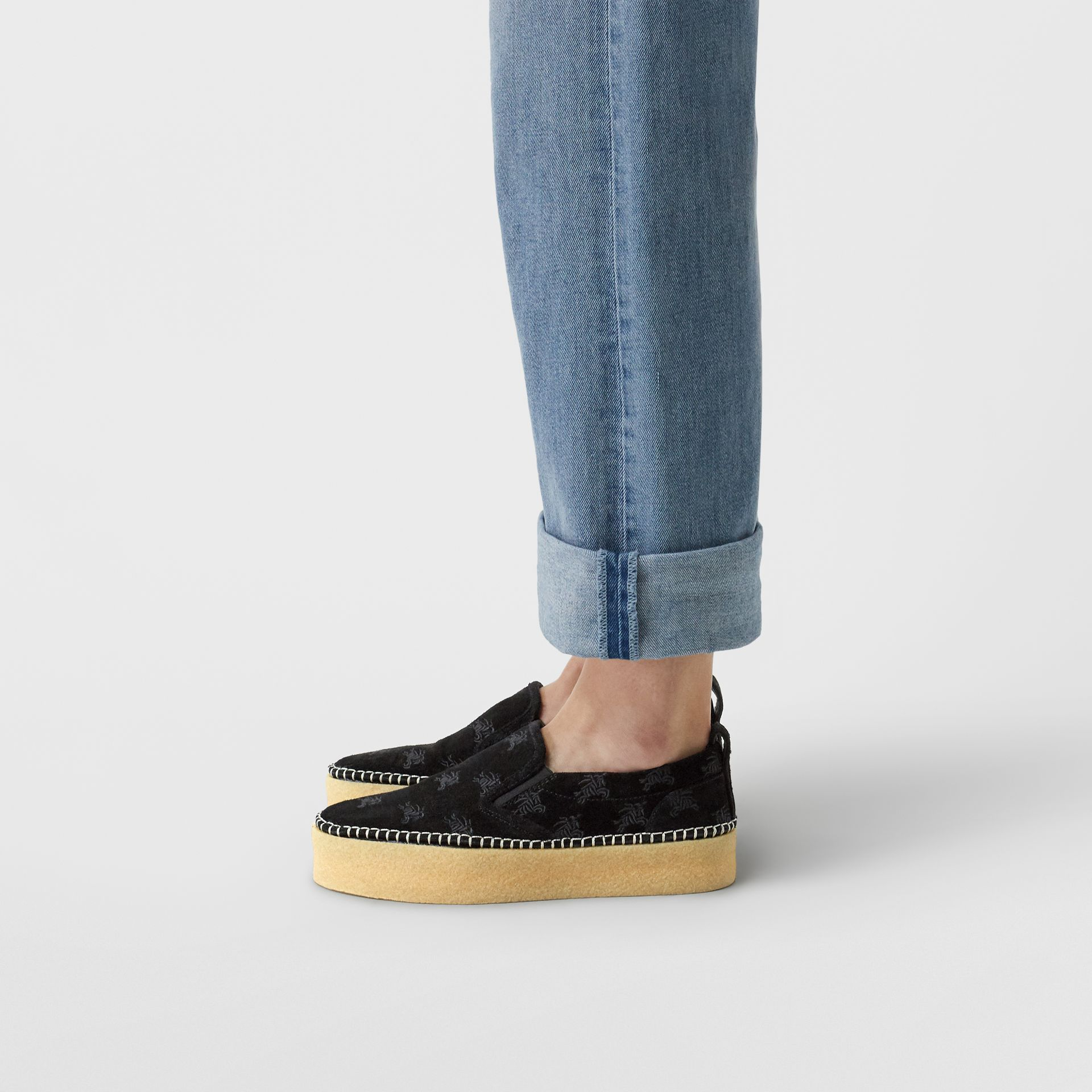 EKD Suede Slip-on Sneakers in Black - Women | Burberry United States - gallery image 2