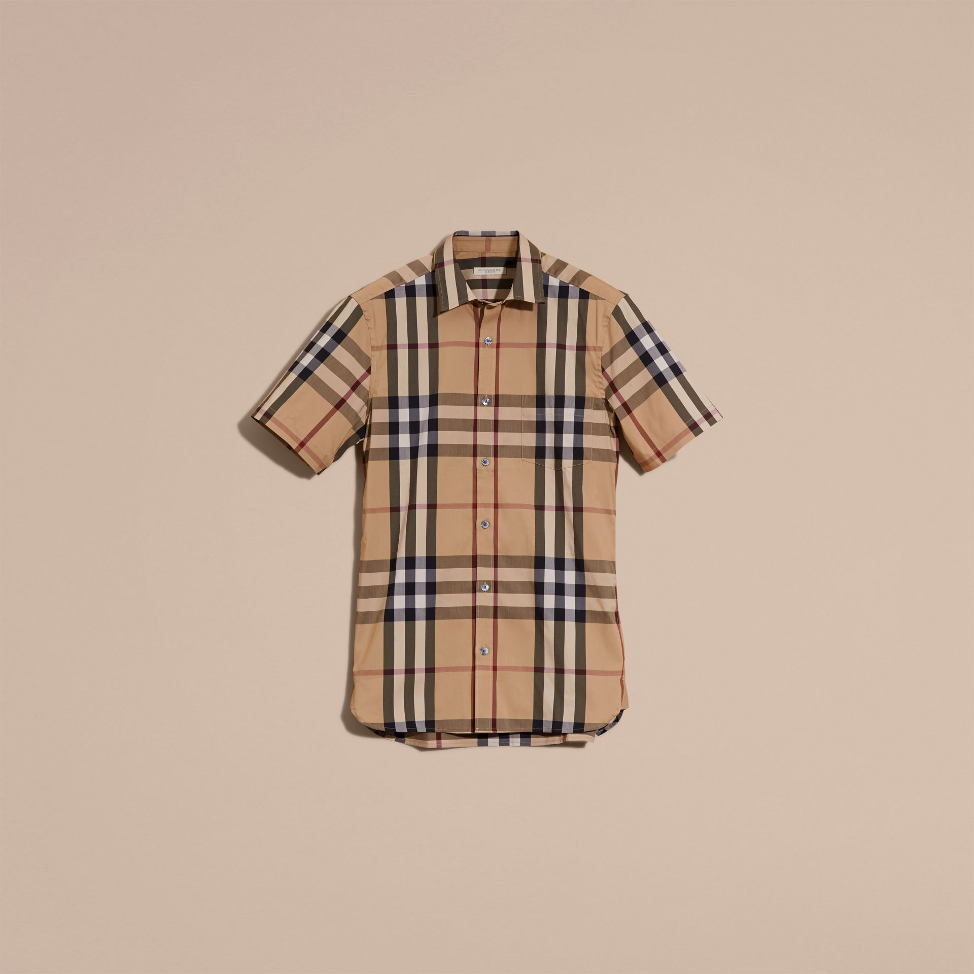 Short-sleeved Check Stretch Cotton Shirt Camel - gallery image 4