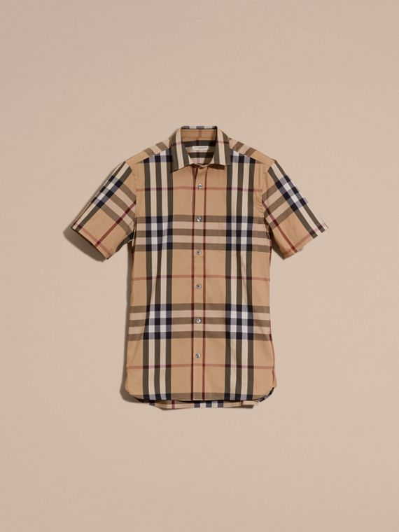 Short-sleeved Check Stretch Cotton Shirt Camel - cell image 3