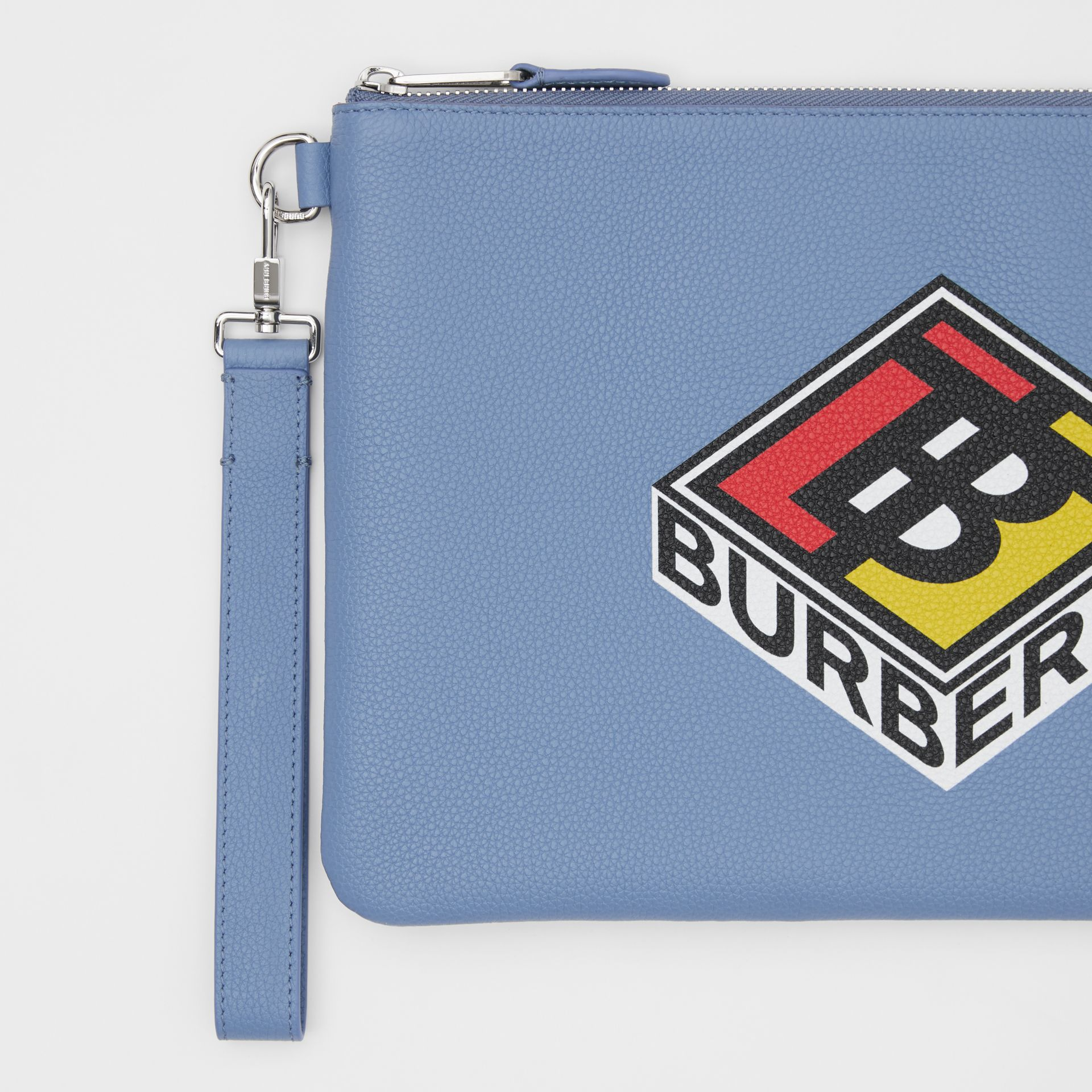 Logo Graphic Grainy Leather Zip Pouch in Pale Bluebell | Burberry - gallery image 1