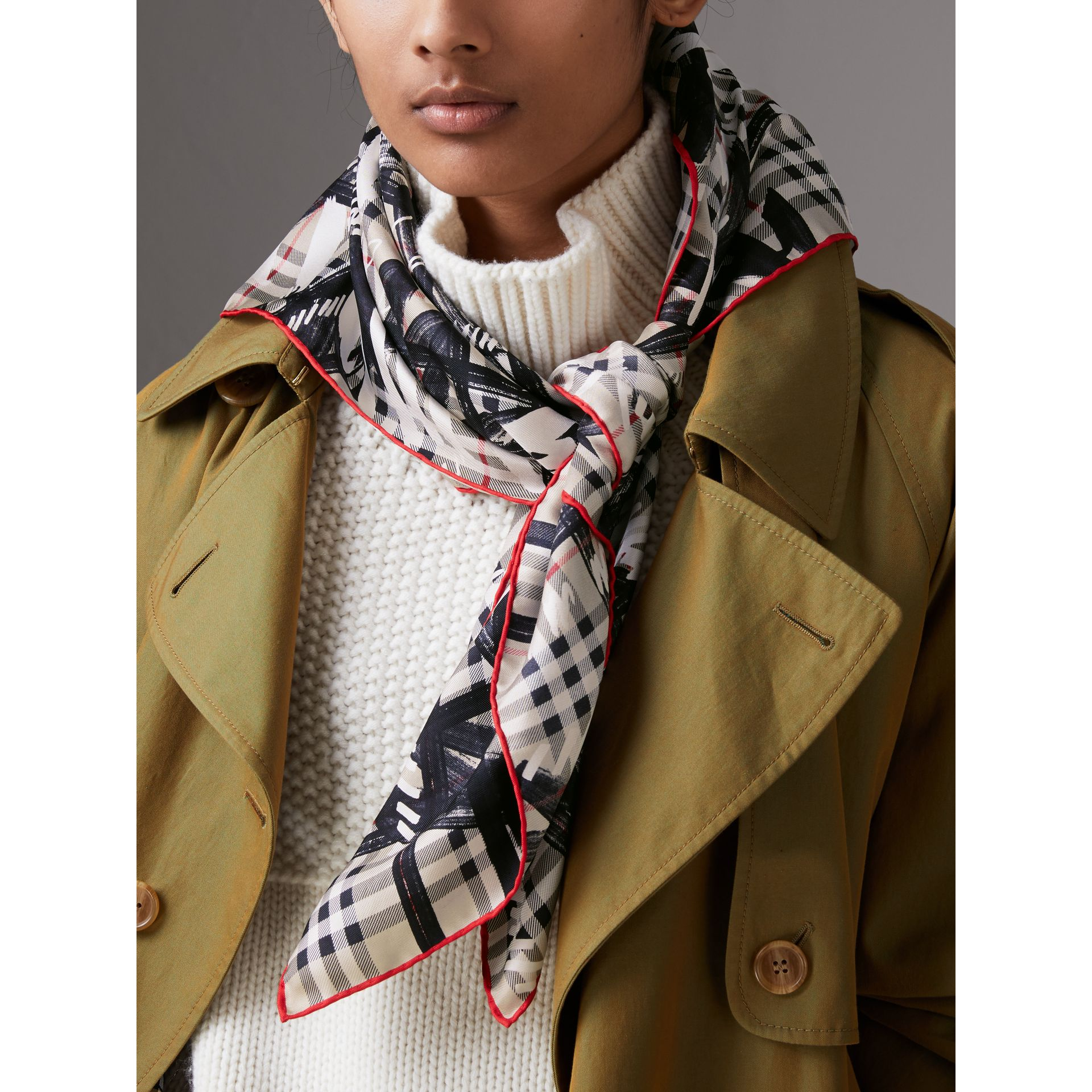 Scribble Check Silk Square Scarf in Stone | Burberry - gallery image 3