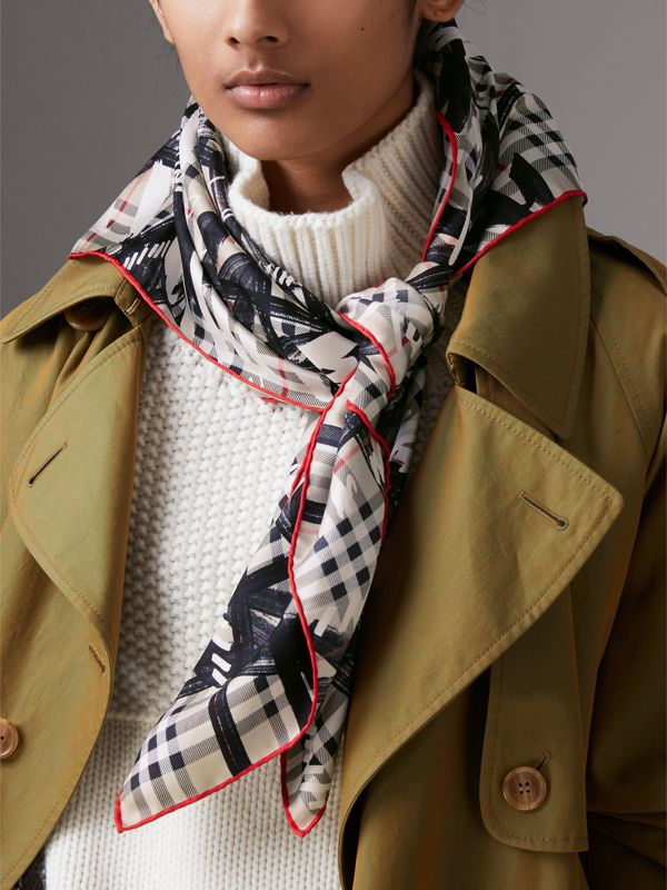 Scribble Check Silk Square Scarf in Stone | Burberry - cell image 3