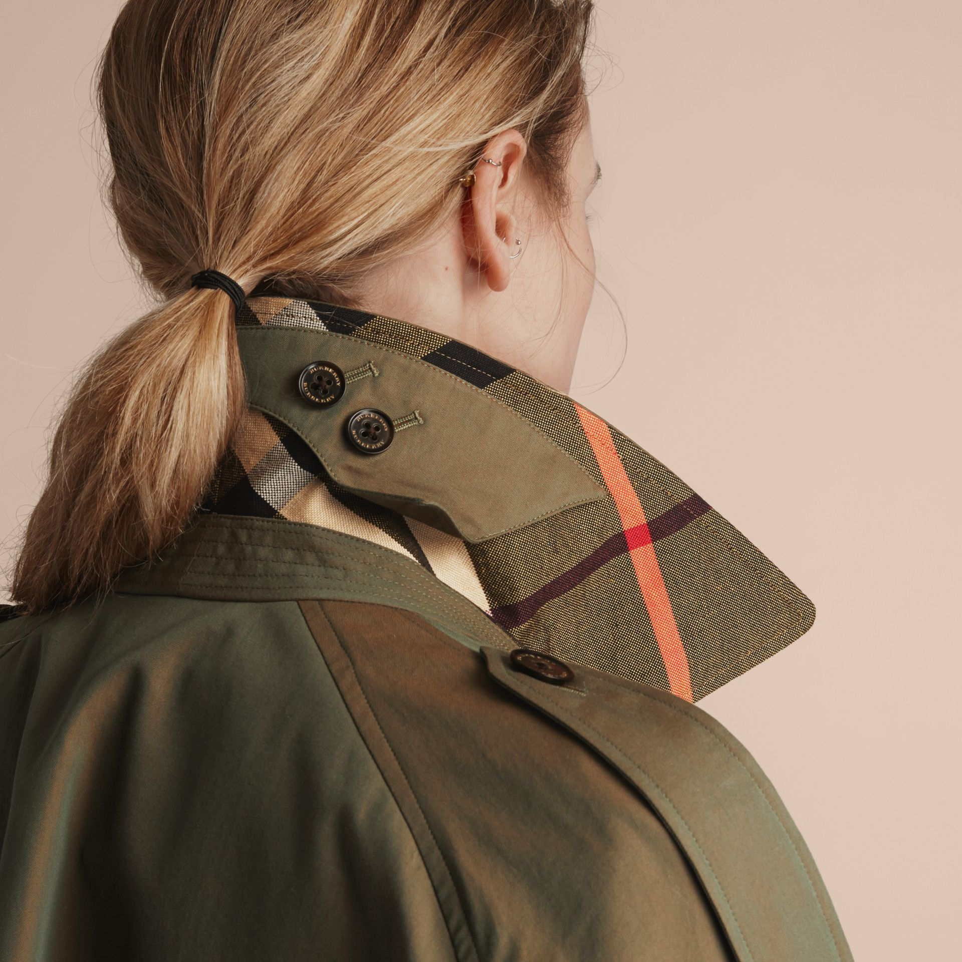 Tropical Gabardine Trench Coat in Bright Olive - Women | Burberry - gallery image 5