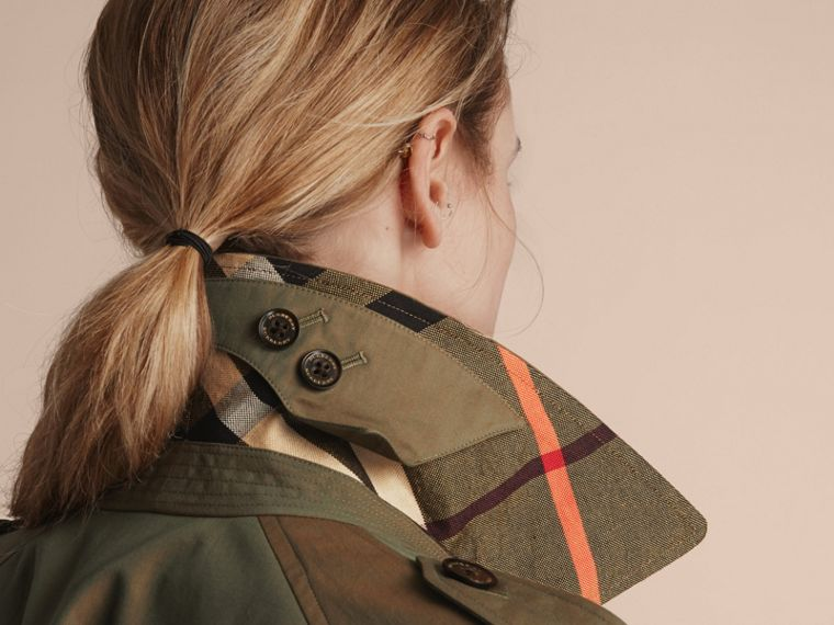 Tropical Gabardine Trench Coat in Bright Olive - Women | Burberry Australia - cell image 4