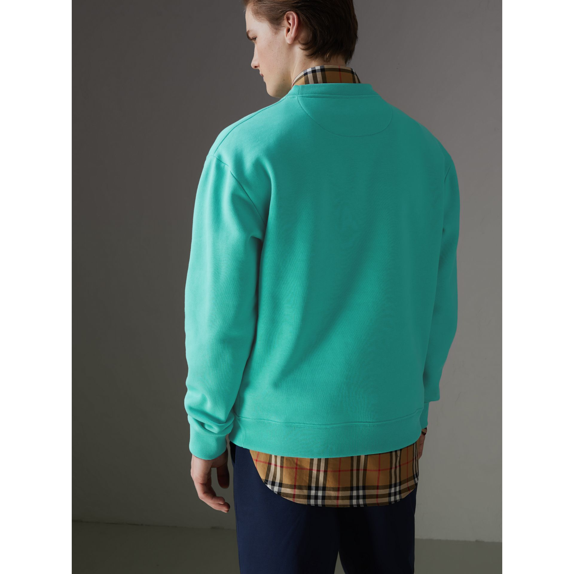 Sweat-shirt en jersey revisité (Aqua) - Homme | Burberry - photo de la galerie 2