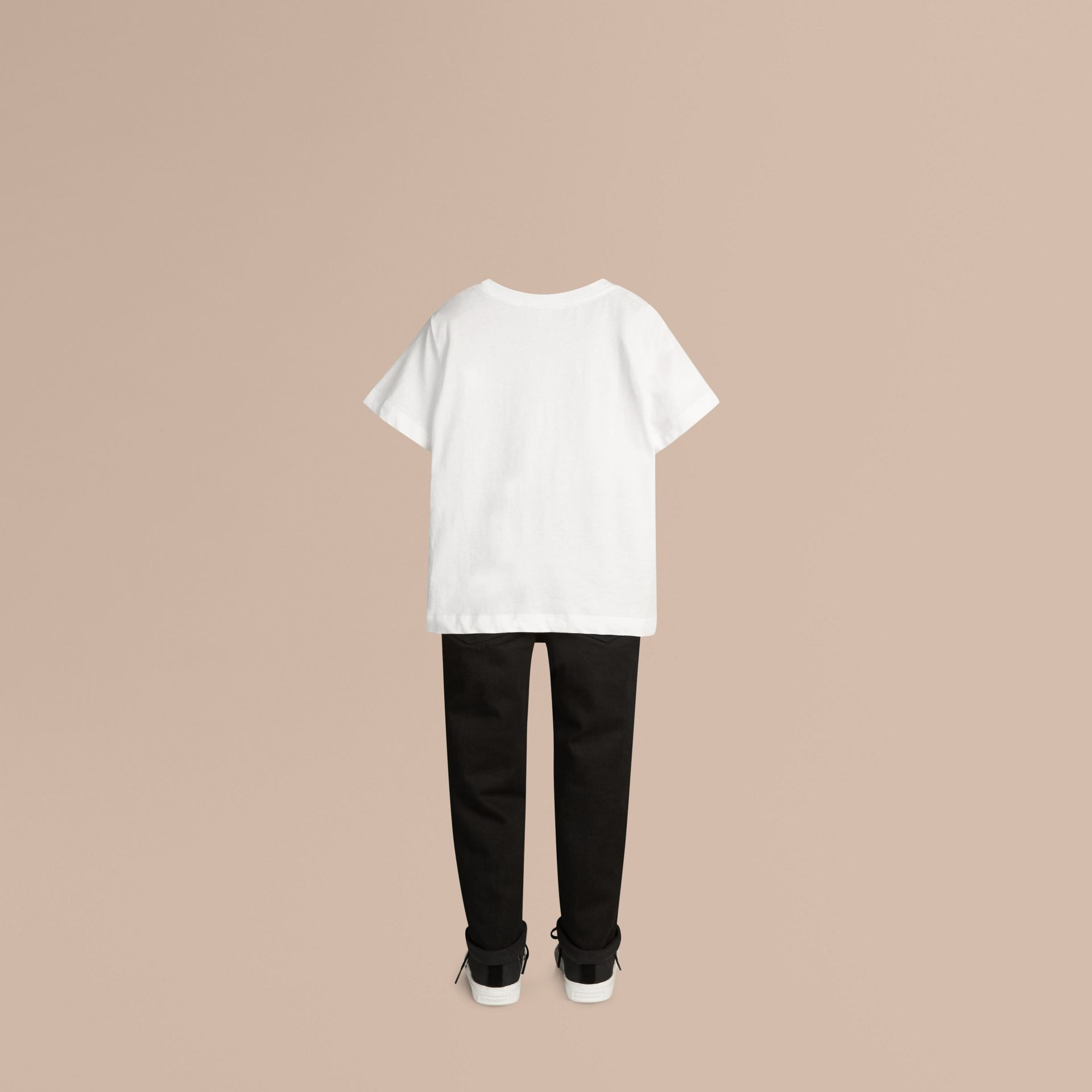 Check Pocket Cotton T-shirt in White - gallery image 3
