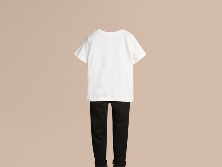Check Pocket Cotton T-shirt in White - cell image 2