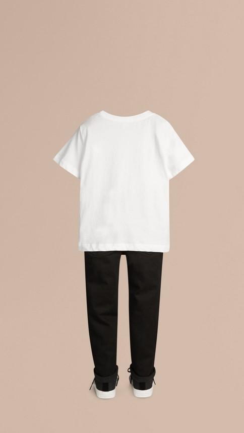 White Check Pocket T-Shirt White - Image 3