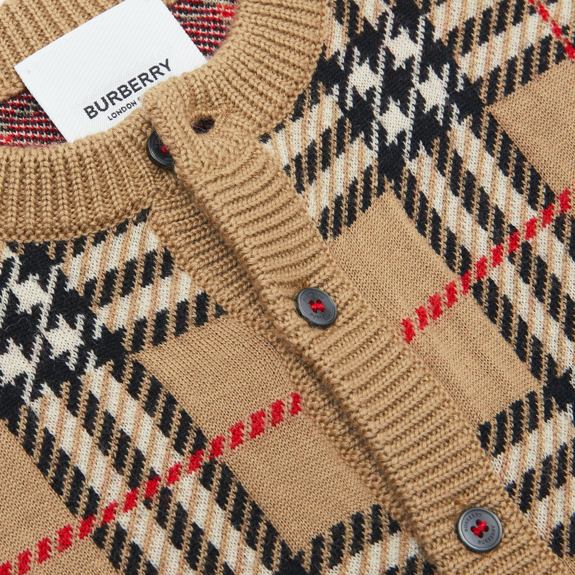 Check Merino Wool Cardigan in Archive Beige - Children | Burberry - gallery image 1