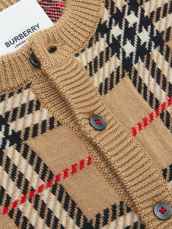Check Merino Wool Cardigan in Archive Beige - Children | Burberry - cell image 1