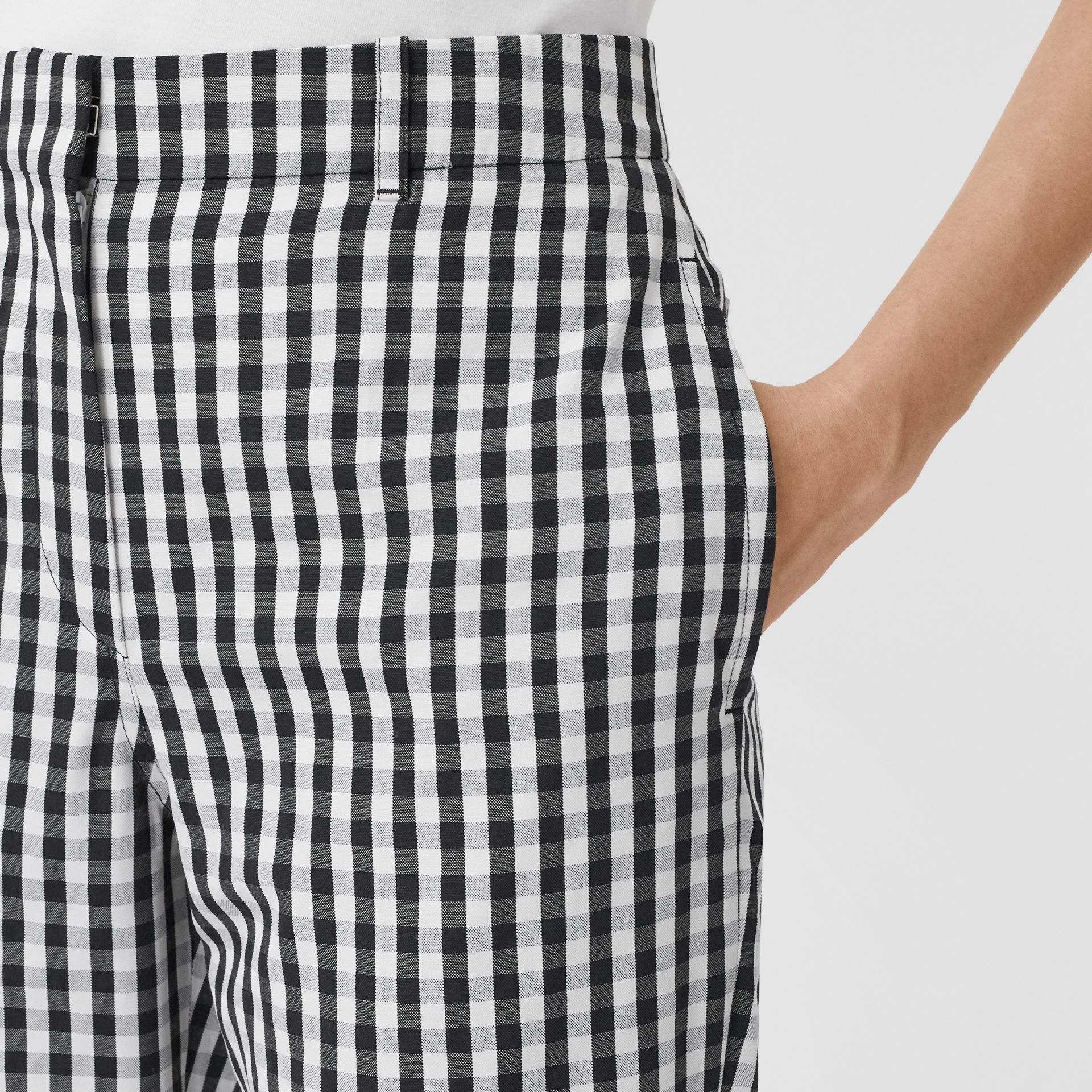 Gingham Technical Wool Cropped Trousers in Black - Women | Burberry - gallery image 4